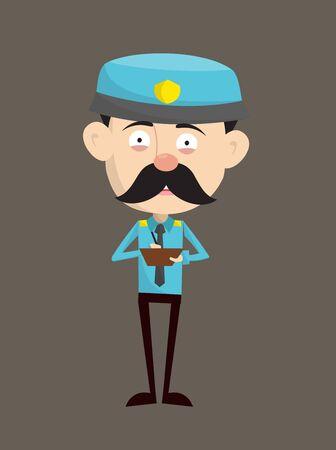 Funny Policeman Cop - Preparing Report in Happy Mood