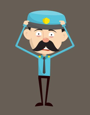 Funny Policeman Cop - with Worried Face