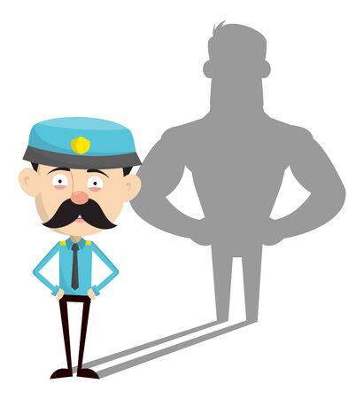 Funny Policeman Cop - Standing in Positive Attitude Illustration