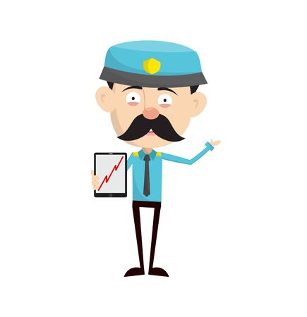 Funny Policeman Cop - Presenting Profit Growing Graph on Tablet