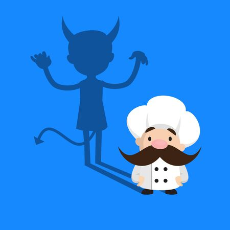 Funny Short Chef - Devil person Standing with Fake Smile