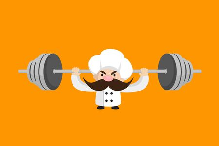 Funny Short Chef - Doing Weight Lifting