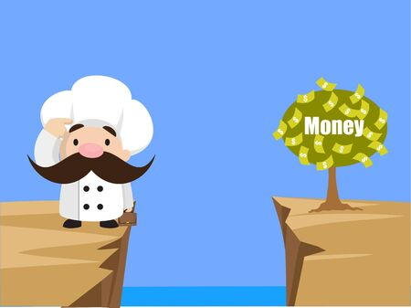 Funny Short Chef - Thinking How to Reach Close to Money Plant