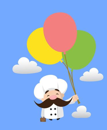 Funny Short Chef - Flying with Balloons