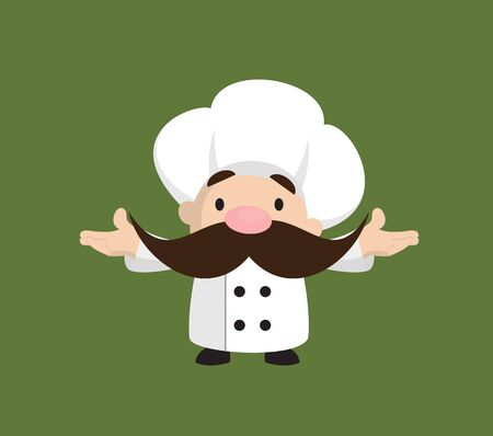 Funny Short Chef - Standing in Presenting Pose Illusztráció