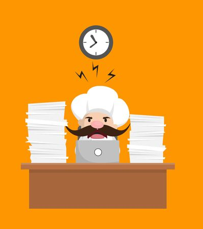 Funny Short Chef - Frustrated from Office Work Stock Illustratie