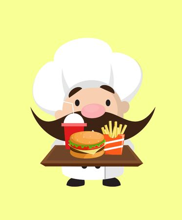 Funny Short Chef - Presenting Fast Foods Stock Illustratie