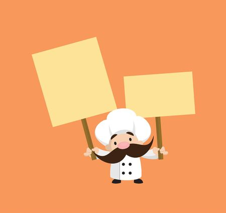 Funny Short Chef - Holding Placards in Both Hands Stock Illustratie