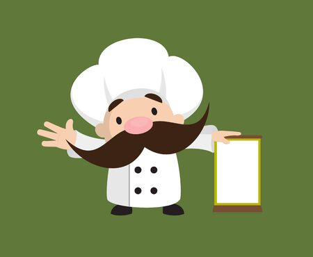 Funny Short Chef - Standing with a Blank Board Stock Illustratie
