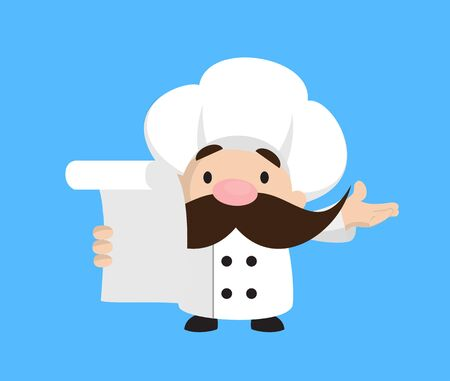 Funny Short Chef - Holding a Paper and Announcing