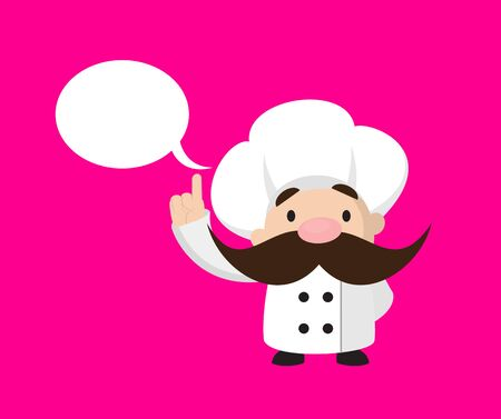Funny Short Chef - Smiling and Pointing to Speech Bubble Stock Illustratie