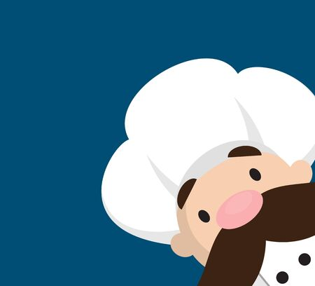 Funny Short Chef - Empty Space with Head in Corner Stock Illustratie