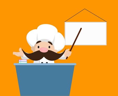 Funny Short Chef - Presenting on White Board