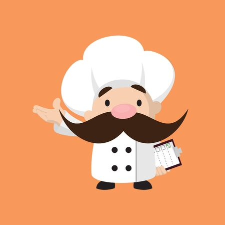 Funny Short Chef - Holding a Checklist and Showing with Hand Gesture