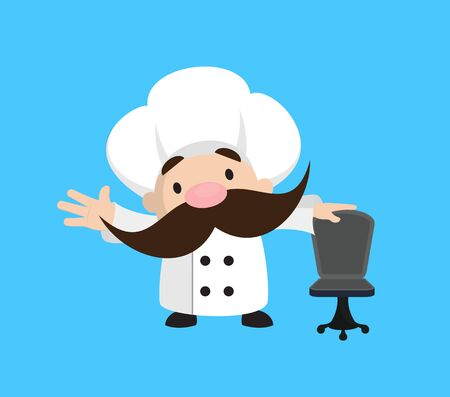 Funny Short Chef - Standing with Chair and Gesturing with Hand