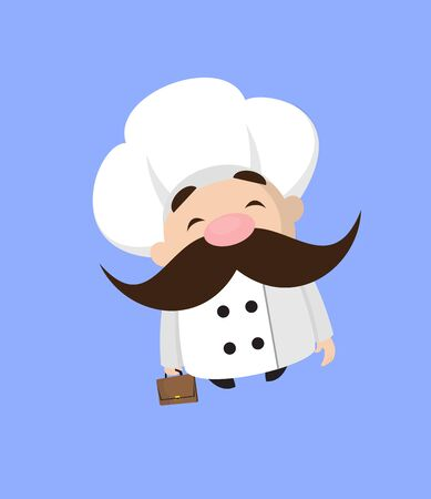 Funny Short Chef - Cheerful Face with Holding Suitcase