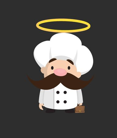 Funny Short Chef - Standing and Smiling Stock Illustratie