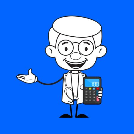 Gynecologist Doctor - Presenting a Calculator Ilustracja