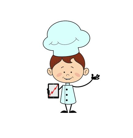 Kitchen Character Chef - Presenting Profit Growing Graph on Tablet 向量圖像