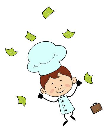 Kitchen Character Chef - Jumping in Excitement with money Stock Illustratie