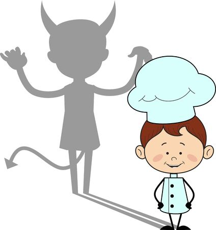 Kitchen Character Chef - Devil person Standing with Fake Smile 版權商用圖片 - 133114812