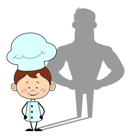 Kitchen Character Chef - Standing in Positive Attitude Stock Illustratie