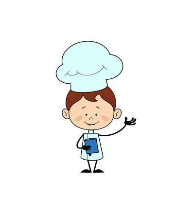 Kitchen Character Chef - Holding a Book and Presenting Vector