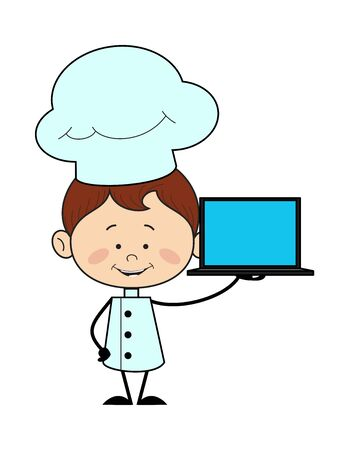 Kitchen Character Chef - Presenting a Laptop Vector Stock Illustratie