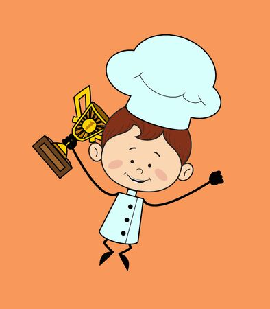 Kitchen Character Chef - Jumping with Trophy