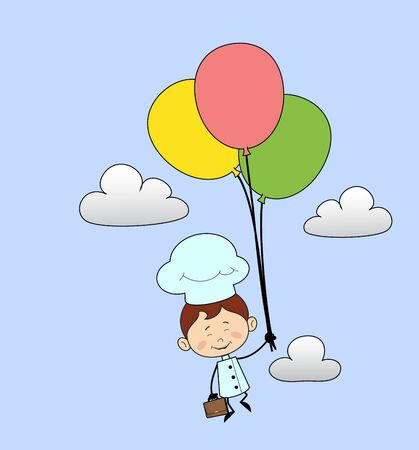 Kitchen Character Chef - Flying with Balloons