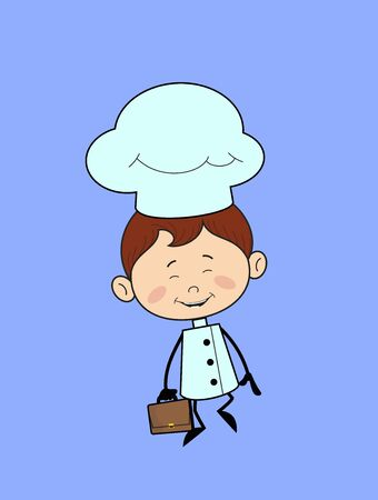 Kitchen Character Chef - Cheerful Face with Holding Suitcase Stock Illustratie