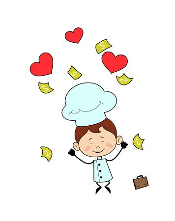 Kitchen Character Chef - Jumping with Hearts and Money Stock Illustratie