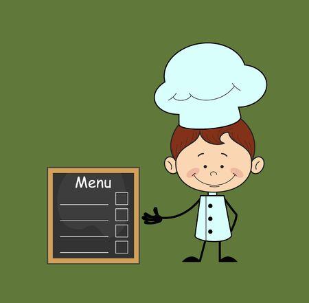 Kitchen Character Chef - Presenting Menu List Vectores
