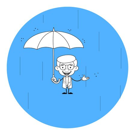 Gynecologist Doctor - Standing in Rain with Umbrella Ilustracja