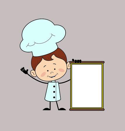 Kitchen Character Chef - Joyfully Presenting a Blank  Board Stock Illustratie
