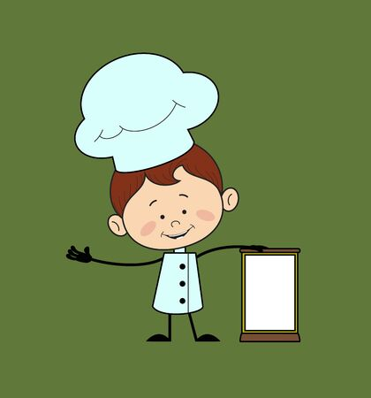 Kitchen Character Chef - Standing with a Blank Board