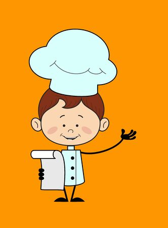 Kitchen Character Chef - Holding a Paper and Announcing
