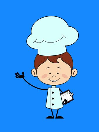 Kitchen Character Chef - Holding a Checklist and Showing with Hand Gesture