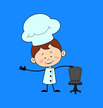 Kitchen Character Chef - Standing with Chair and Gesturing with Hand Stock Illustratie
