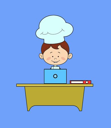 Kitchen Character Chef - Working on Laptop