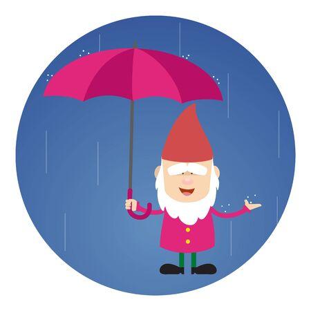 Cute Cartoon Chef Standing in Rain with Umbrella Ilustrace