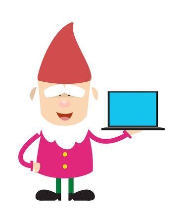 Cute Cartoon Chef - Presenting a Laptop Vector Ilustrace