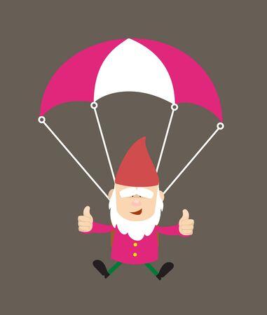 Cute Cartoon Chef - Successful Landing with Parachute