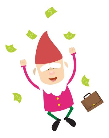 Cute Cartoon Chef - Jumping in Excitement with money
