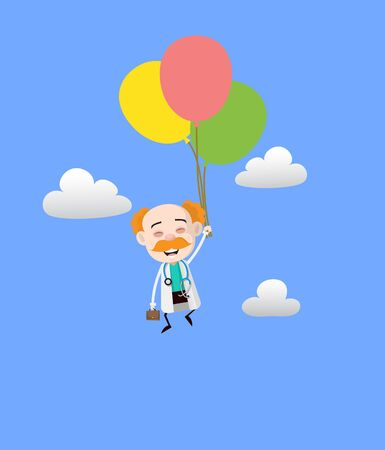 Medical Professional Doctor - Flying with Balloons
