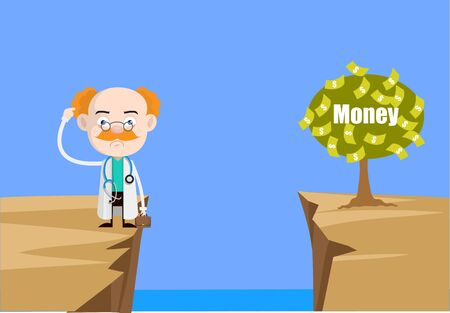 Medical Professional Doctor - Thinking How to Reach Close to Money Plant Ilustrace