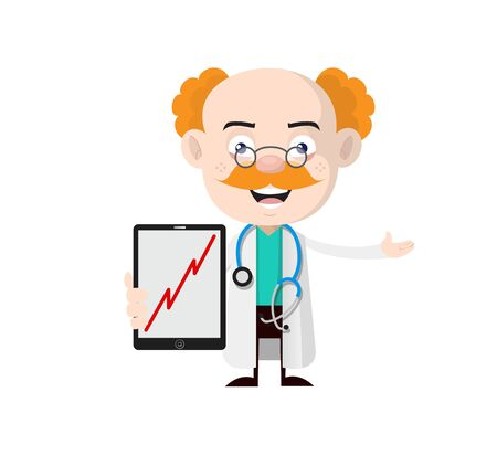 Medical Professional Doctor - Presenting Profit Growing Graph on Tablet 向量圖像