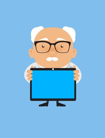 Old Boss Businessman - Presenting a Tablet