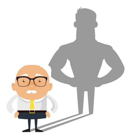 Old Boss Businessman - Standing in Positive Attitude
