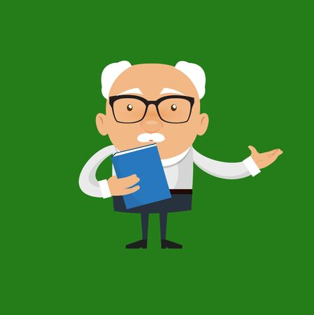Old Boss Businessman - Holding a Book and Presenting Vector